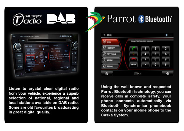 Caska DAB & Parrot Bluetooth Feature